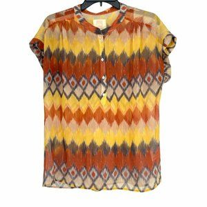 Quiksilver Women's Sheer Beach Blouse Colorful Short Sleeve 100% Polyester